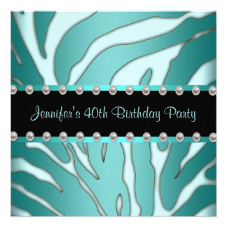 Elegant Teal Blue Zebra Womans 40th Birthday Party Personalized Announcement