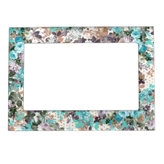 Elegant Teal Brown Roses Vintage Polka Dots Magnetic Picture Frame