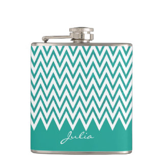 Elegant Teal Chevron Custom Flask