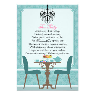 Elegant Teal Damask Birthday Tea Party Custom Announcements