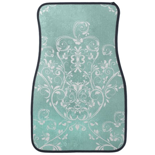 Elegant Teal Damask Car Mat