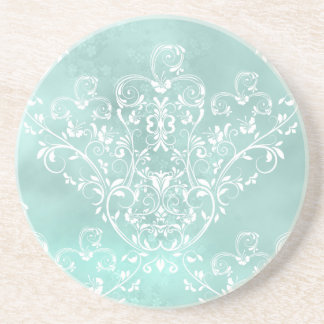 Elegant Teal Damask Coaster