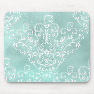 Elegant Teal Damask Mousepad