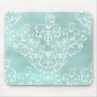 Elegant Teal Damask Mousepad