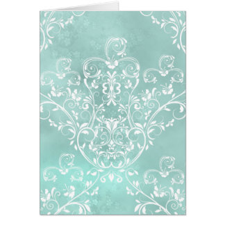 Elegant Teal Damask Note Card