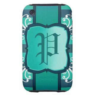 Elegant teal decor monogram tough iPhone 3 cover
