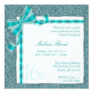 "Elegant Teal Faux Glitter Invite with Bow 5.25"" Square Invitation Card"