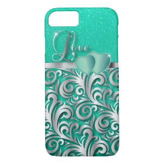Elegant Teal Glitter Love iPhone 7 Case