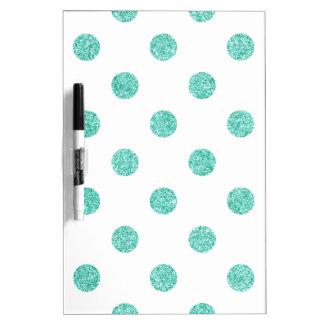Elegant Teal Glitter Polka Dots Pattern Dry Erase Board