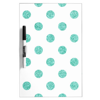 Elegant Teal Glitter Polka Dots Pattern Dry-Erase Whiteboard