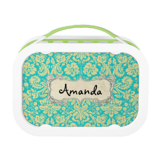 Elegant Teal & Gold Damask Lunchbox