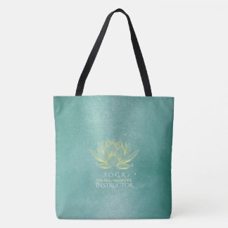 Elegant Teal Gold Lotus Yoga Mediation instructor Tote Bag
