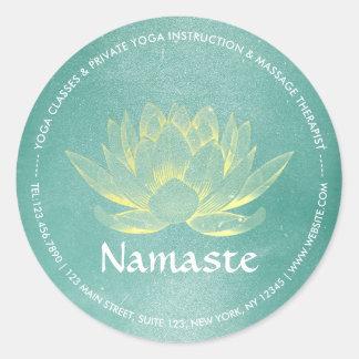 Elegant Teal Gold Lotus YOGA Meditation Instructor Classic Round Sticker