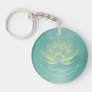Elegant Teal Gold Lotus YOGA Meditation Instructor Key Ring