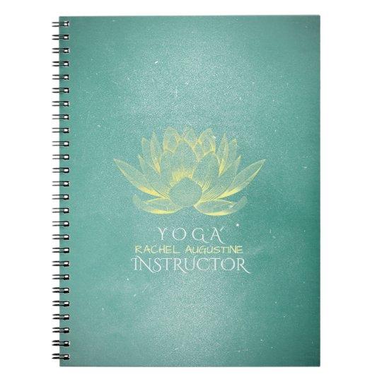 Elegant Teal Gold Lotus YOGA Meditation Instructor Notebooks