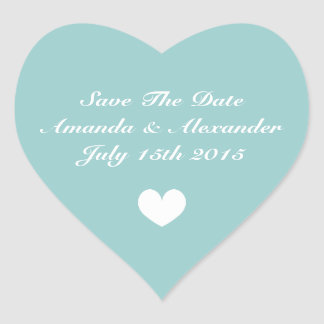 Elegant teal heart Save the date wedding stickers