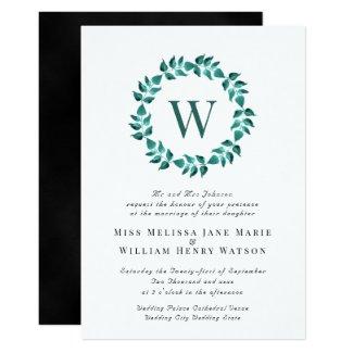 Elegant Teal Monogram Wreath Wedding Invitation
