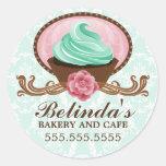 Elegant Teal Pink Brown Cupcake Bakery Stickers