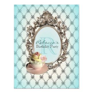 elegant teal pink cupcake vintage birthday party 11 cm x 14 cm invitation card