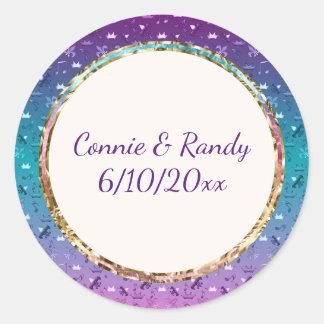 Elegant Teal Purple Gold Monogram Wedding Sticker