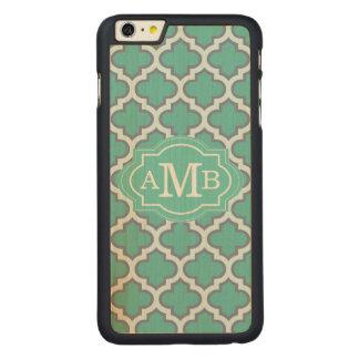 Elegant Teal Quatrefoil Pattern Custom Monogram Carved Maple iPhone 6 Plus Case