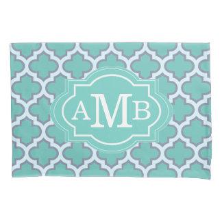 Elegant Teal Quatrefoil Pattern Custom Monogram Pillowcase