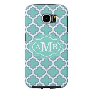 Elegant Teal Quatrefoil Pattern Custom Monogram Samsung Galaxy S6 Cases