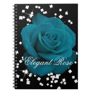 Elegant Teal Rose Notebook