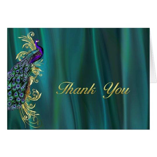 Elegant Teal Satin and Peacock Wedding Thank You