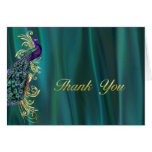 Elegant Teal Satin and Peacock Wedding Thank You Note Card