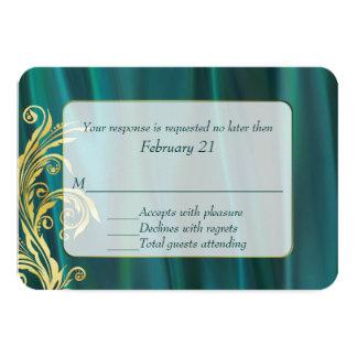 Elegant Teal Satin Wedding Response Card