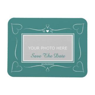Elegant Teal Wedding Heart Monogram Save The Date Rectangular Photo Magnet