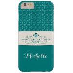 Elegant Teal White Fleur de Lis iPhone 6 Plus Case