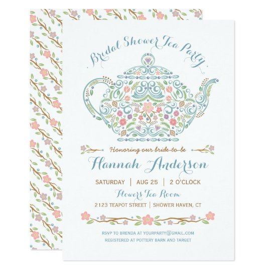 Elegant teapot bridal shower invitation zazzle filmwisefo