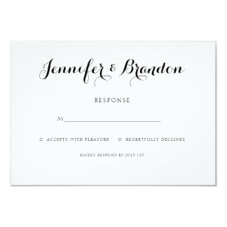 Elegant text wedding invitation response card