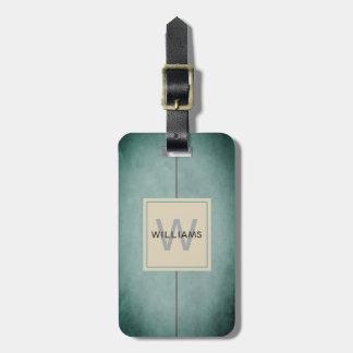 Elegant Texture Blue Dark Grey Monogram Luggage Tag