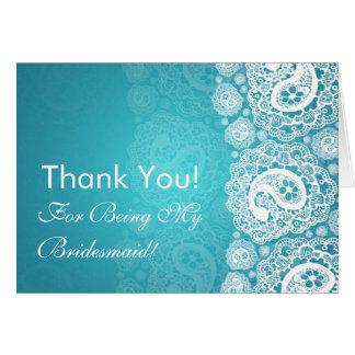 Elegant Thank You Bridesmaid Paisley Lace Blue Card