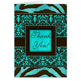 Elegant Thank You Cards Zebra Damask BB