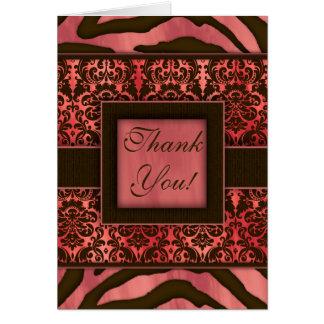 Elegant Thank You Cards Zebra Damask Coral
