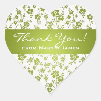 Elegant  Thank you Floral Pattern Lime Green Heart Sticker