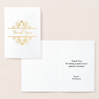 Elegant thank you foil card