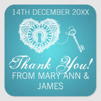 Elegant Thank you Key To My Heart Turquoise Square Sticker