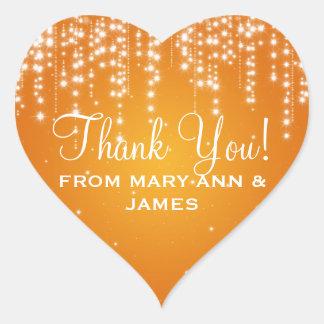 Elegant  Thank you Night Dazzle Orange Heart Sticker