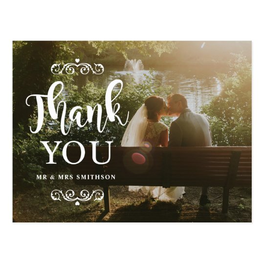 Elegant Thank You Photo Wedding Card Postcard