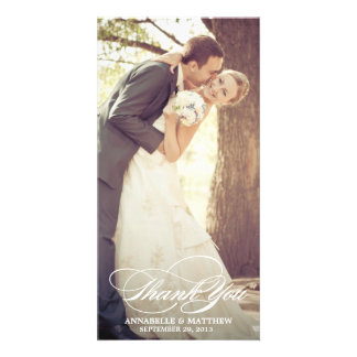 Elegant Thank You Script Wedding Overlay Photo Card
