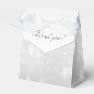 Elegant Thank You Silver Bokeh Sparkle Lights Party Favour Box
