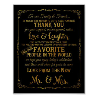elegant Thank You table wedding signs gold Poster