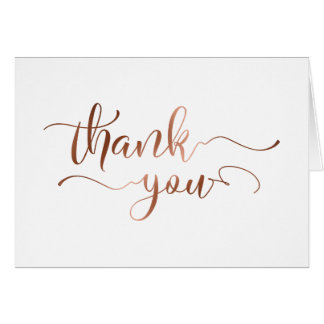 Elegant Thank You w/ Faux Copper Foil Script Card