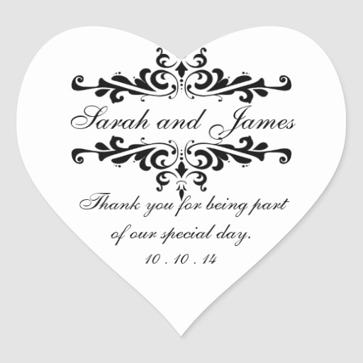 Elegant Thank You Wedding Favor Stickers Heart