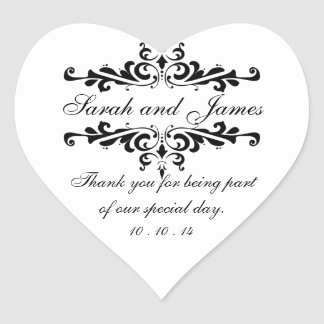 Elegant Thank You Wedding Favour Stickers Heart